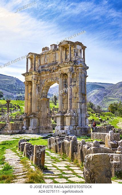Algeria, Djemila City, Roman ruins of Djemila City, UNESCO, W. H. , Caracalla Arch, Djemilla Forum