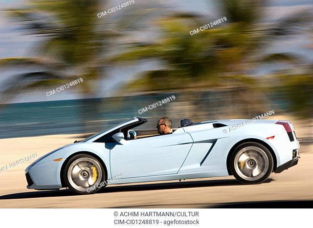Lamborghini Gallardo Spider, model year 2005-, hellblue moving, side view, landsapprox.e, open top, Beach, Palm trees