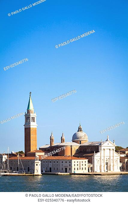 Panoramic view during sunset on San Giorgio Maggiore, Venice - Italy