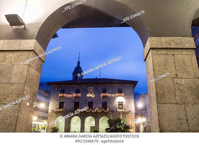 Town Hall of Azkoitia with Christmas lights, Gipuzkoa, Basque Country