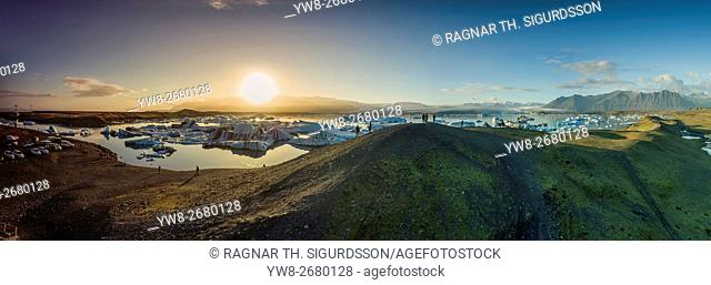Aerial view of Icebergs in Jokulsarlon, Breidamerkurjokull, Vatnajokull Ice Cap, Iceland. This image is shot with a drone