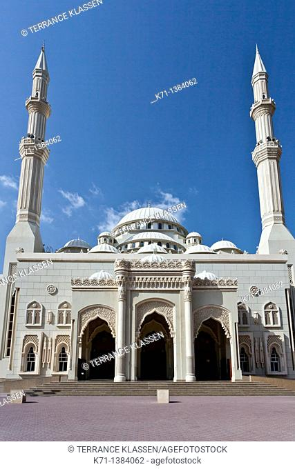 The Al Noor Mosque exterior in Sharjah, UAE