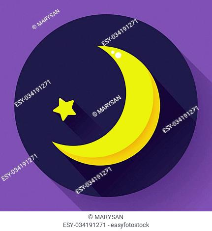 Moon and stars at night - Vector icon. Flat design style