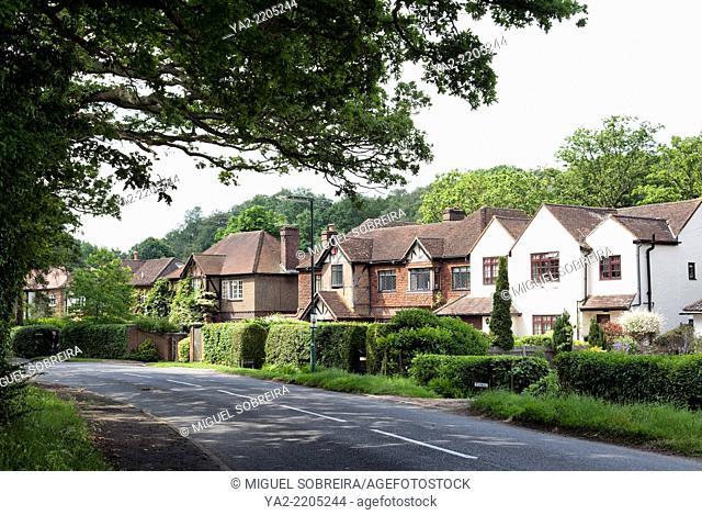 Houses along Road in Stoke D'Abernon - Surrey, England
