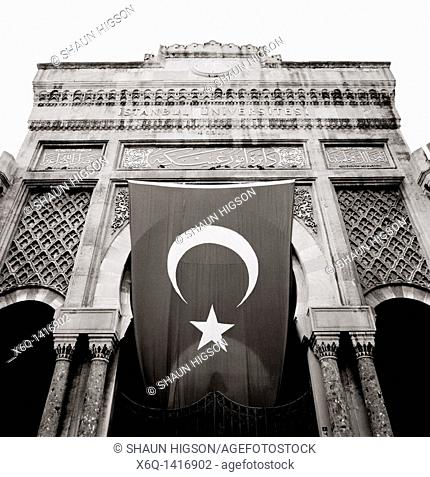 Moorish style entrance gate to Istanbul University on Beyazit Square in Istanbul in Turkey in Middle East