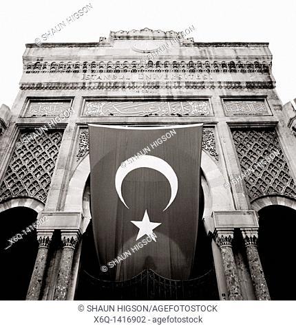 Moorish style entrance gate to Istanbul University on Beyazit Square in Istanbul, Turkey