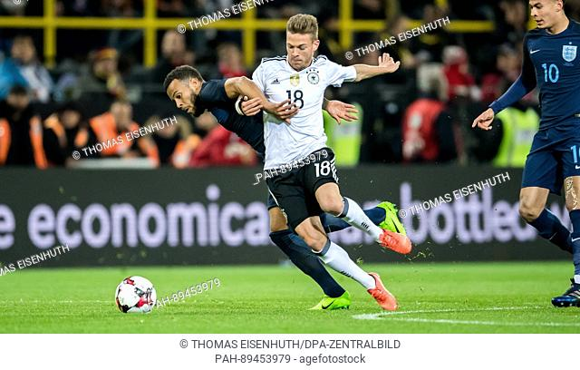 Germany's Joshua Kimmich against England's Ryan Bertrand during the international friendly soccer match between Germany and England at Signal Iduna Park...