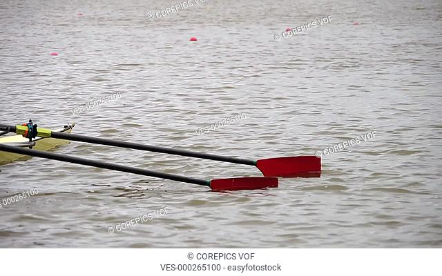 double skulls rowing regatta gets the start signal and green light for their race