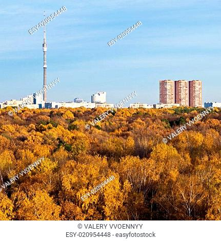 TV tower, houses and autumn trees and blue sky