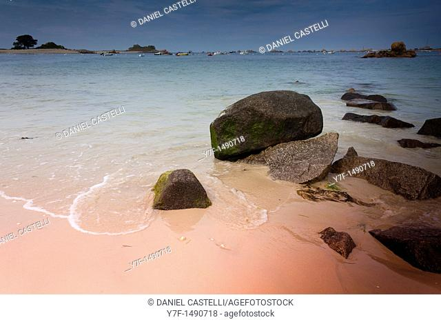 Rocks on sea, Port Blanc, Brittany, France