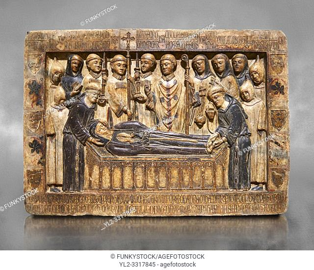 Gothic Catalan marble relief sculpture from the tomb of Margarida Cadell, died 1308, from the convent of Sant Domenee de Puigcerda, Cerdanya, Spain