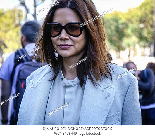PARIS, France- September 26 2018: Christine Centenera on the street during the Paris Fashion Week
