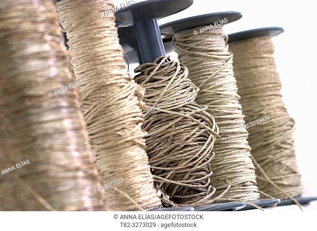 Gold and silver thread spools for cofrade crafts, Holy Week, Andalusia, Spain