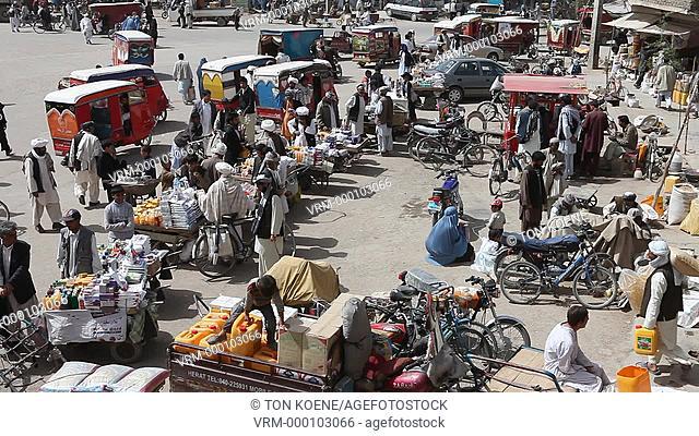 Traffic in downtown Herat, Afghanistan