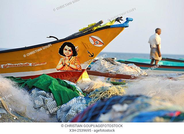 dugout canoes on Marina Beach, Baie of Bengal, Chennai Madras, Coromandel Coast, Tamil Nadu state, South India, Asia
