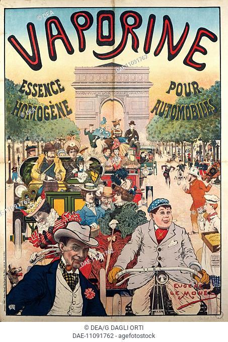 Posters, France, 19th century. Vaporine Essence Homogene pour Automobiles, illustration signed by Eugene Le Mouel.  Paris