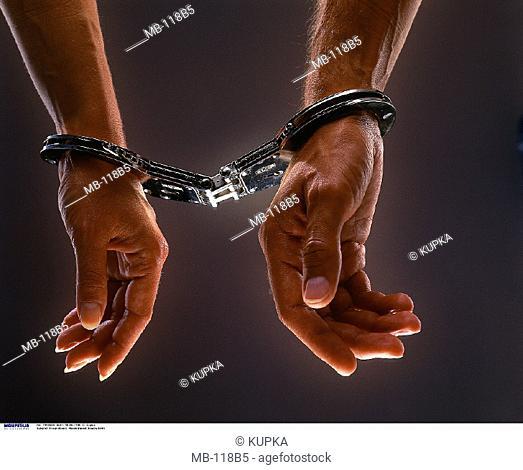 Woman, Man, Hands, Handcuffs