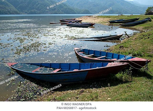 Boats on April 8, 2017 on the Phewa Lake in Pokhara / Nepal. | usage worldwide. - Pokhara/Nepal