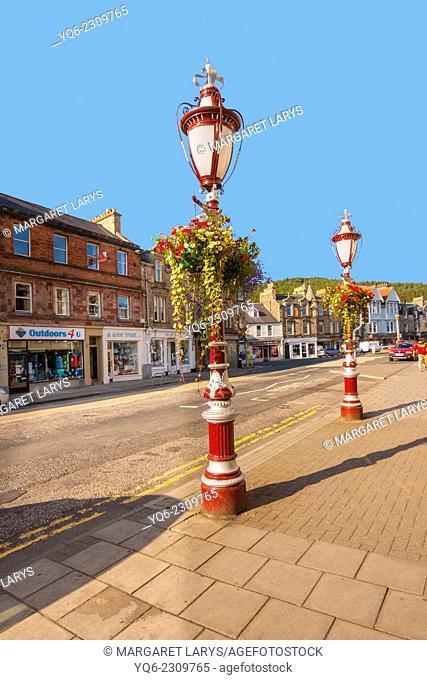 Old street lamps in Peebles, Scotland, United Kingdom