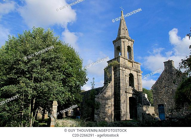 Church, and steeple, Pont Christ , near Landerneau, Brittany, Finistere 29, France