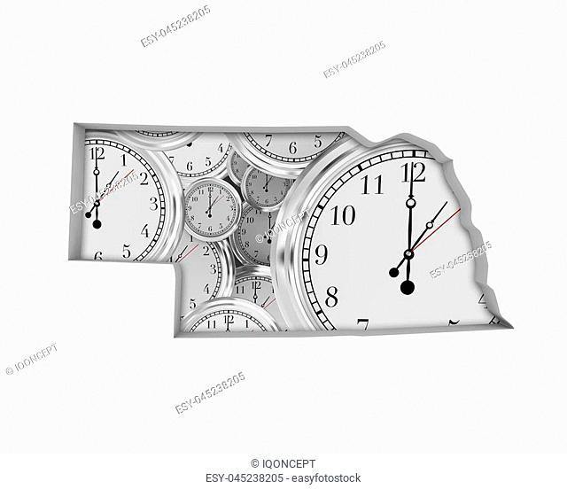 Nebraska NE Clock Time Passing Forward Future 3d Illustration