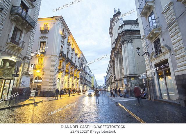 Catania by twilight, Sicily, Italy