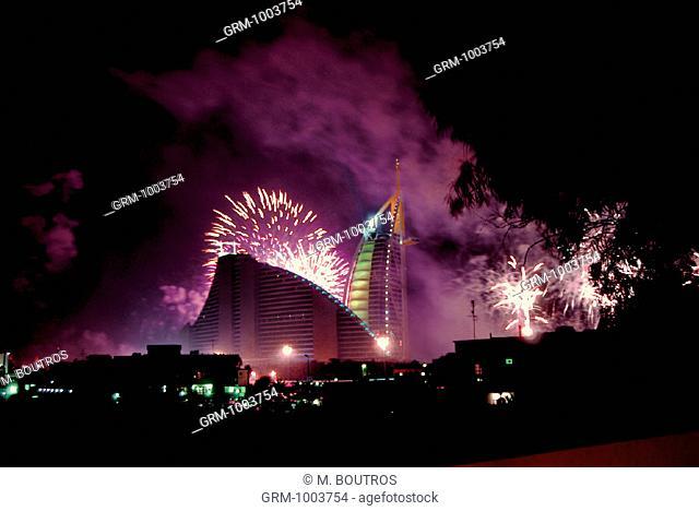 Fireworks at Burj Al Arab and Jumeirah Beach Hotel on New Year's Eve 2005, Dubai, UAE