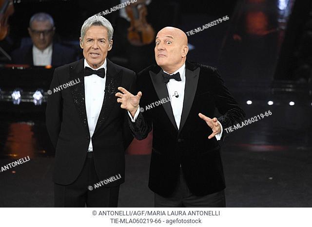 Claudio Baglioni and Claudio Bisio during Sanremo second evening. 69th Festival of the Italian Song. Sanremo, Italy 06 Febr 2019