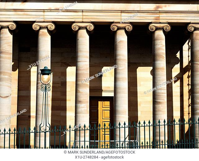 Ionic Columns at the Royal Scottish Academy Building from Princes Street Edinburgh Midlothian Scotland