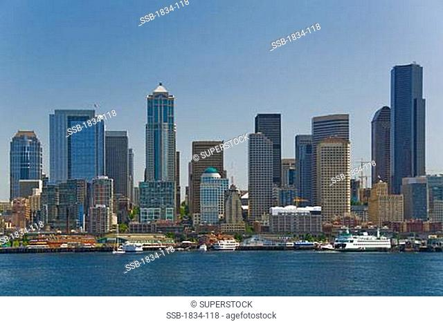 Skyscrapers at the waterfront, Seattle, Washington State, USA