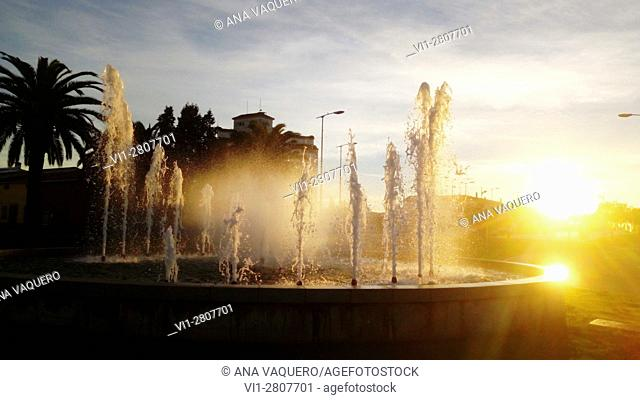 Fountain, sunset. Miajadas. Province of Cáceres, Extremadura. Spain