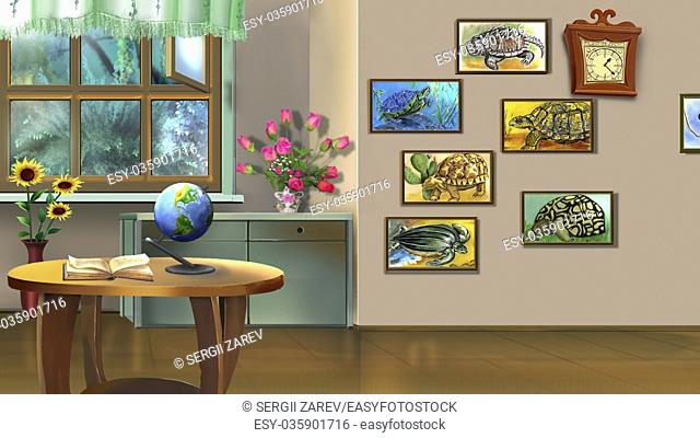 Digital painting of the Room Interior with Turtle Pictures
