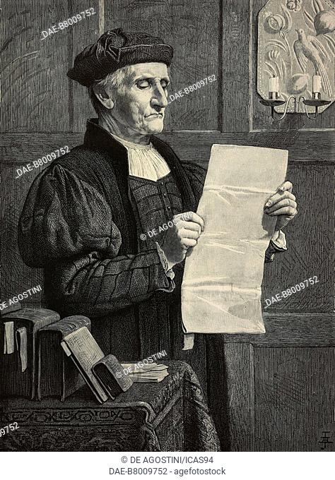 The man of law, engraving from the painting by Henry Stacy Marks, The Illustrated London News, No 2203, August 6, 1881