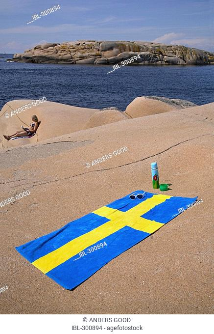 Swedish flag on towel