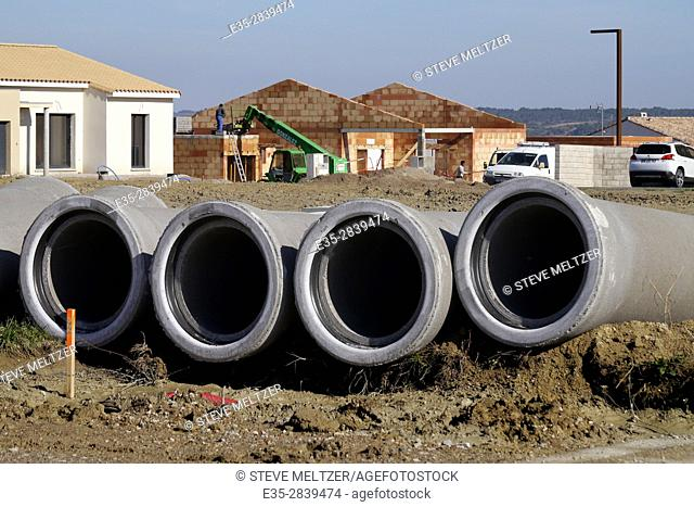 Sewer pipes at a housing construction site near Pezenas