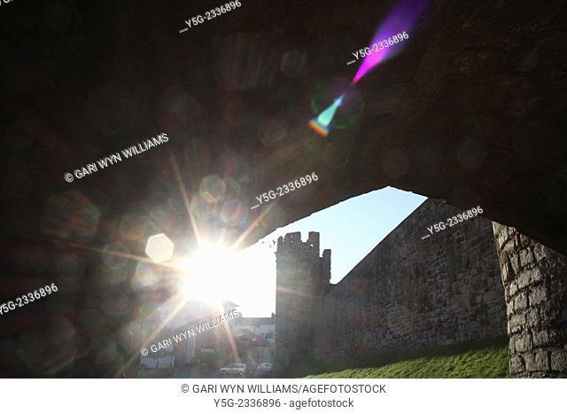 Caernarfon castle city wall in Caernarfon, North Wales, Great Britain, UK