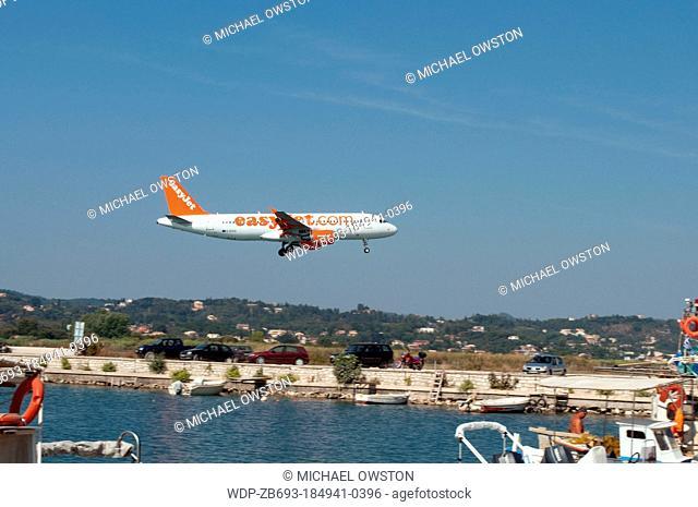 plane landing at Corfu Airport Corfu Greece