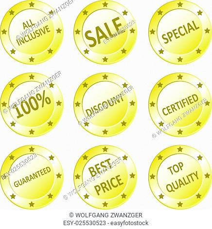 Vector icon set of golden quality sale, guaranteed, best price, all inclusive, discount seals