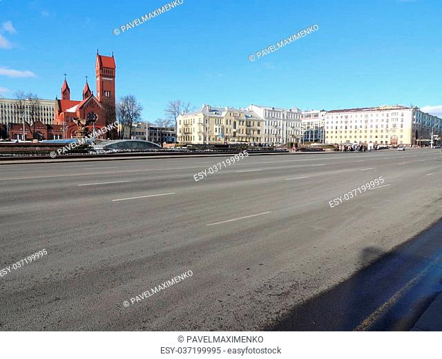 view to Independence avenue in Minsk