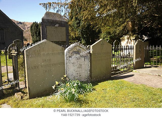 Grasmere, Cumbria, UK, Britain, Europe  Family grave of William and Mary Wordsworth, daughter Dora Quillinan and son-in-law Edward Quillinan in St Oswald's...