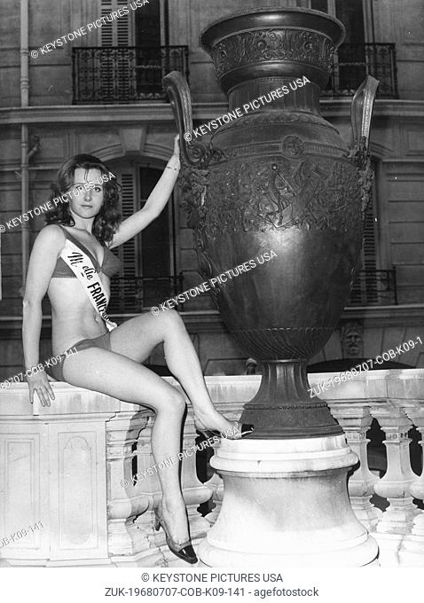 Jul 7, 1968 - Paris, France - Mademoiselle France - 20-year-old MARYVONNE LACHAZE from Laval (Britanny) was elected Mademoiselle France 1968
