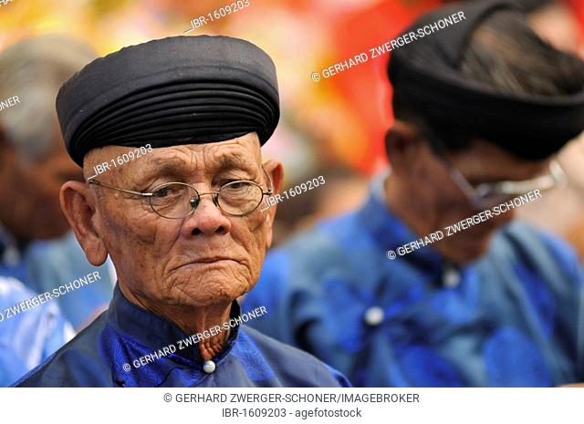 High priest at the largest and most important religious festival of the Cham, Po Nagar Temple, Vietnam, Southeast Asia