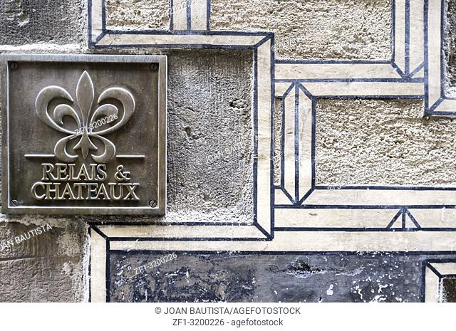 Relais and chateaux sign, ancient walls, hotel neri,gothic quarter of Barcelona