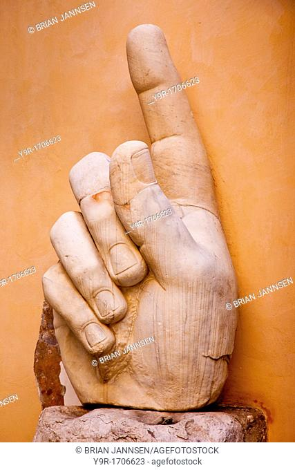 Massive body parts from the statue of Constantine - originally a seated statue displayed in the Roman forum, Rome, Lazio Italy