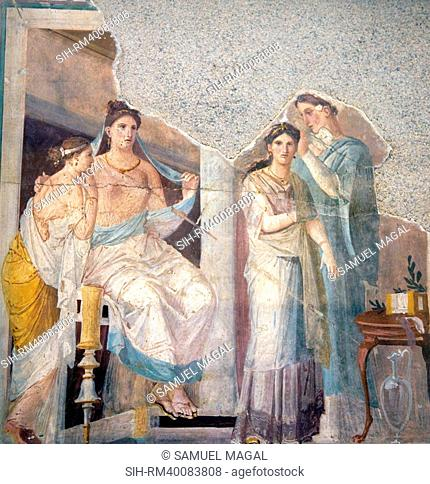 Naples, Naples Museum, from Herculaneum, Pompeian Ladies with their Slave Hairdresser
