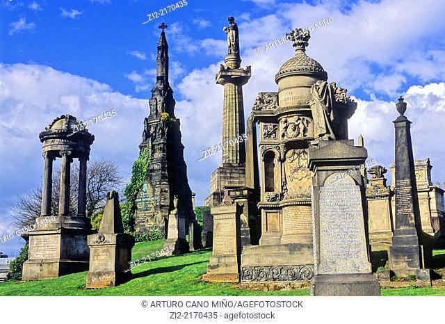 The Glasgow Necropolis. Glasgow, Scotland, United Kingdom