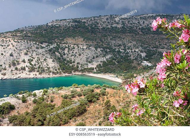 View of Livadi Beach from St Archangel Monastery - Thassos island, Greece