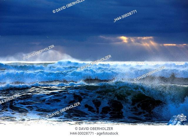Surf, Europe, Island, coast, light mood, sea, morning mood, sunrise, volcano island, water, winter