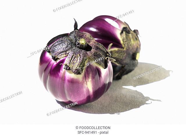 Two Round Eggplants on White Background