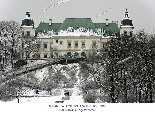 Baroque-Neoclassical Ujazdow Castle - Zamek Ujazdowski - in historic Ujazdow district between Ujazdow Park - Park Ujazdowski and Royal Baths Park -Lazienki...